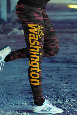 Love Washington Football Leggings in Print All Over Camo Design