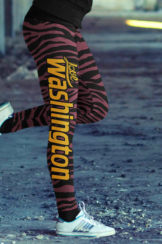Love Washington Football Leggings in Print All Over Striped Design
