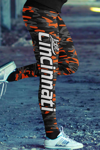 Cincinnati Football Ugly Christmas Leggings in Print All Over Random Design