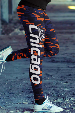 Love Chicago FootballLeggings in Print All Over Camo Design