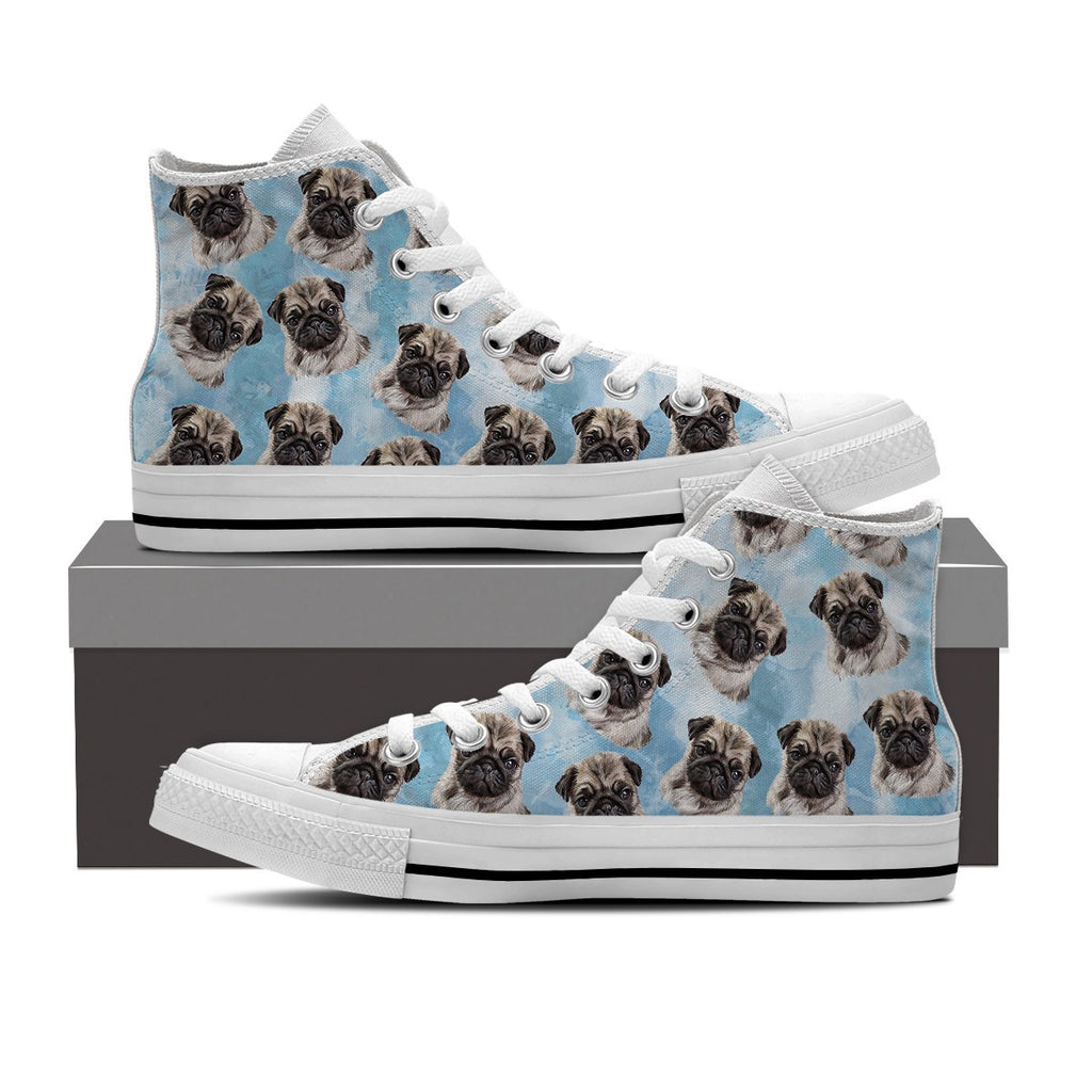 Watercolor Pug Men's High Top Shoes