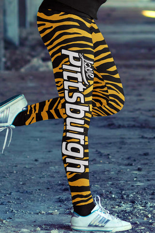 Love Pittsburgh Football Leggings in Print All Over Striped Design