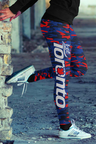 Love Toronto Baseball Print All Over Leggings in Camo Design