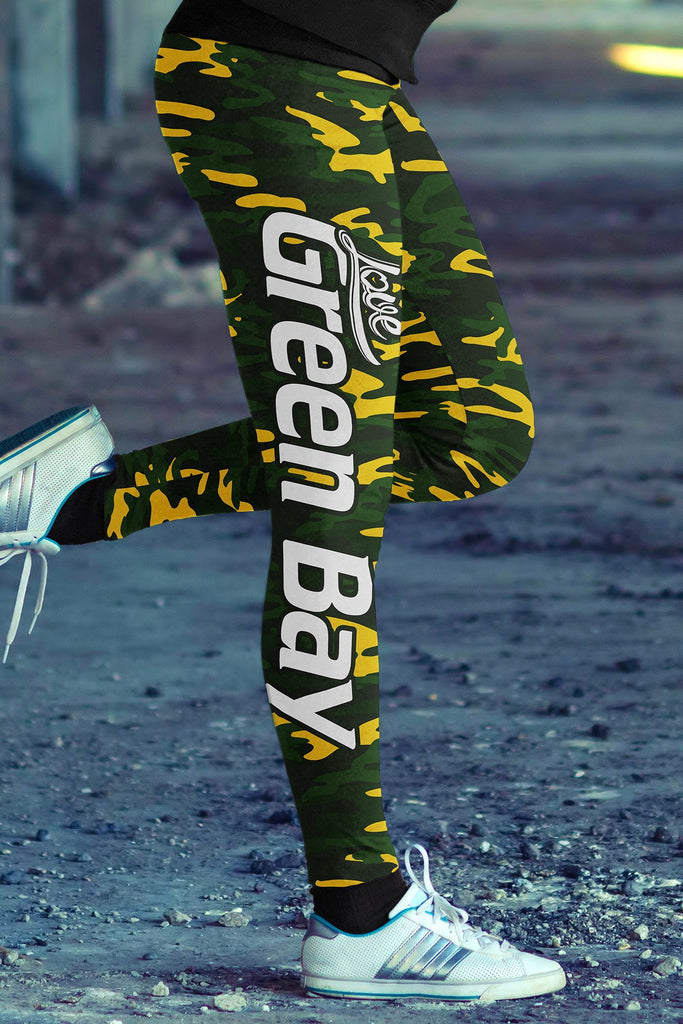 Love Green Bay Football Print All Over Leggings In Camo Design