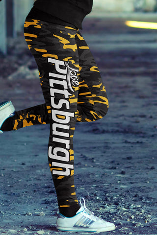 Pittsburgh Football Ugly Christmas Leggings in Print All Over Classic Design