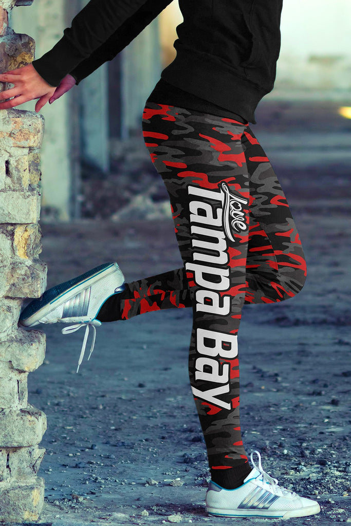 Love Tampa Bay Football Print All Over Leggings in Camo Design