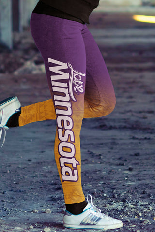 Love Minnesota Baseball Leggings Print All Over in Classic Design