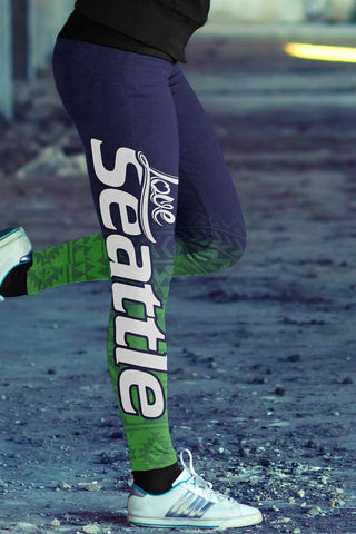 Seattle Football Loving Girl Print All Over Leggings in Classic Design