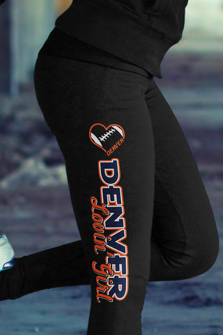 Denver Football Loving Girl Cotton Leggings