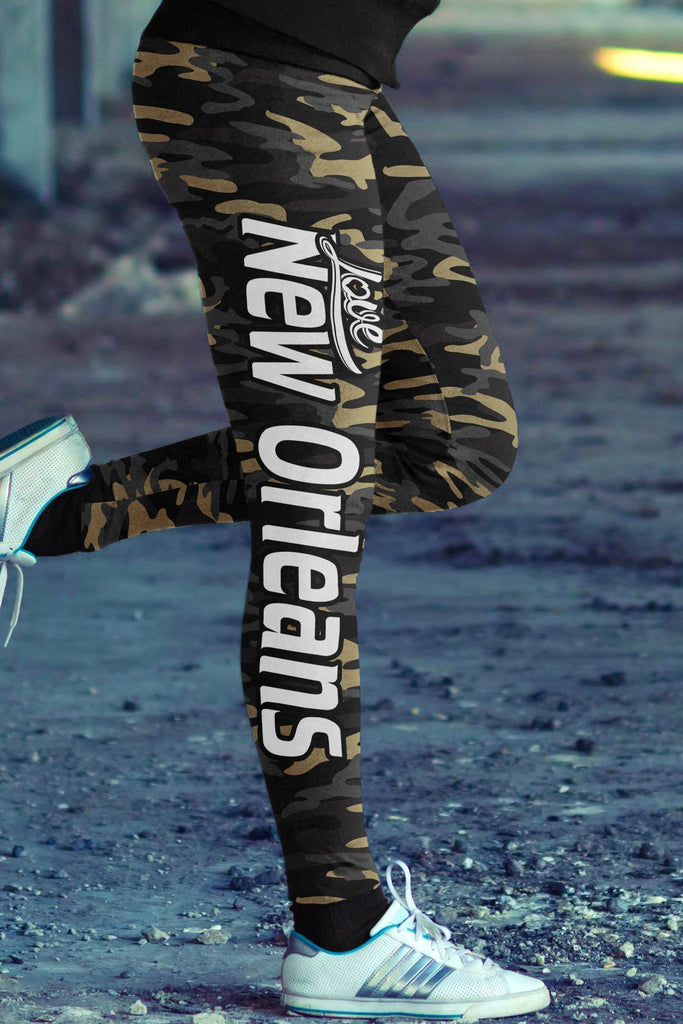 Love New Orleans Football Leggings in Print All Over Camo Design