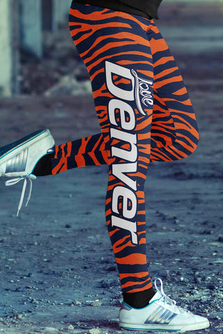 Denver Football Ugly Christmas Leggings in Print All Over Random Design