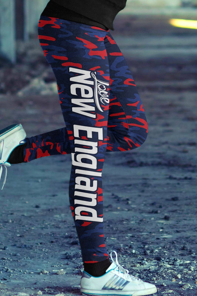 New England Football Leggings in Print All Over Camo Design