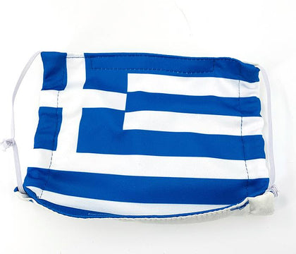 Panos wearing a Greek flag mask