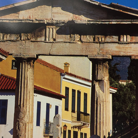 Import Athens book open to show ruins