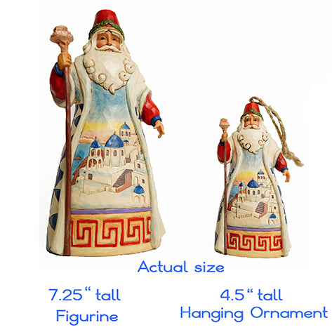 Jim Shore Heartwood Creek Greek Santa Figurine and hanging ornament