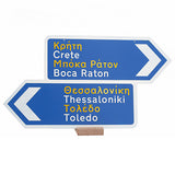 Two signs Grecian signs placed on top of each other with Greek and American cities painted.