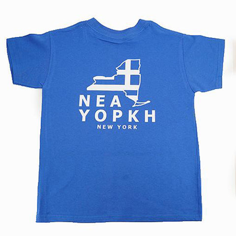 New York New York State Map Greek Flag T-Shirt
