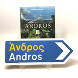 Import Andros book and Andros Greek Road Sign