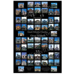 "Black poster, 24"" x 36"", with pictures in small squares"