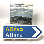 Cover of Athens book along with Athens Greek Road Sign with an arrow pointing to the right.