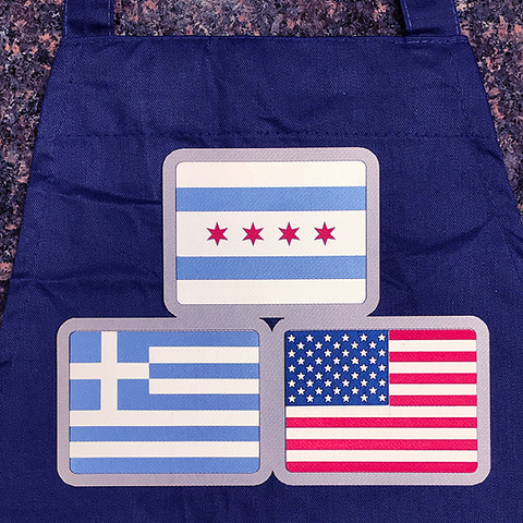 Chicago, American and Greek Flag Apron
