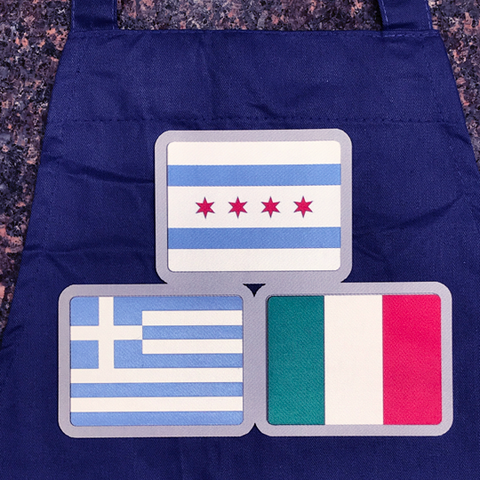 Chicago, Greek and Italian Flag Aprons