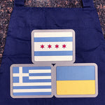 Chicago, Greek, and Ukrainian Flag Aprons