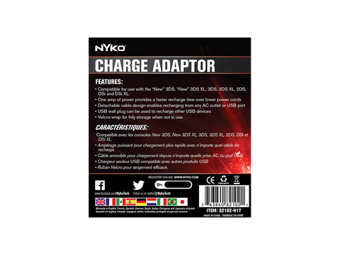 "Charge Adapter for ""New"" 3DS - box back"