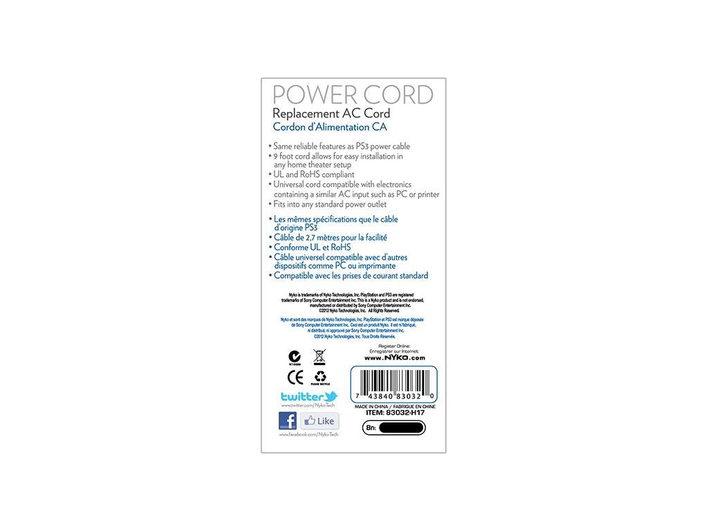 Power Cord for PlayStation®3 – Nyko Technologies