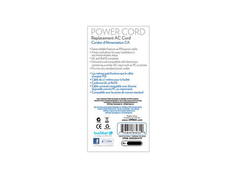 Power Cord for PS3 - box back