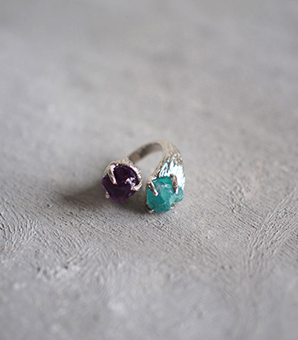 2 Head Ring - Amethyst and Blue Apatite