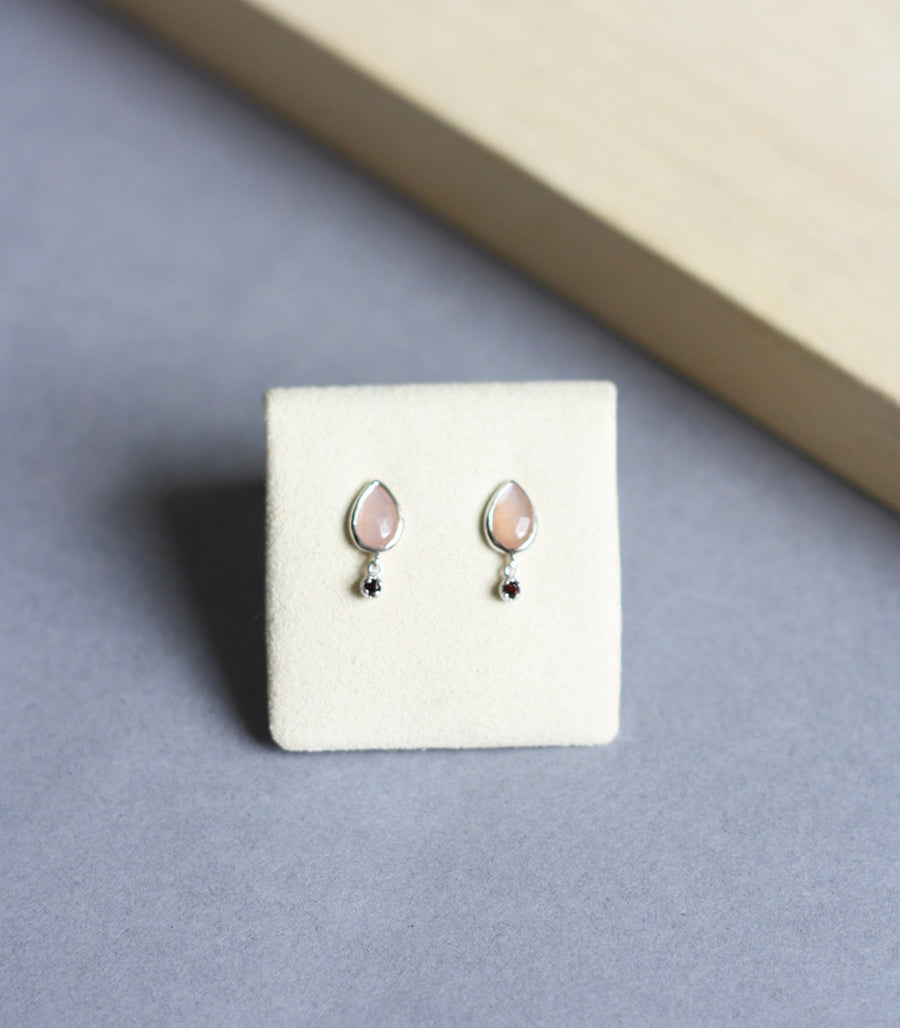 Althea Earrings - Peach Moonstone in Silver