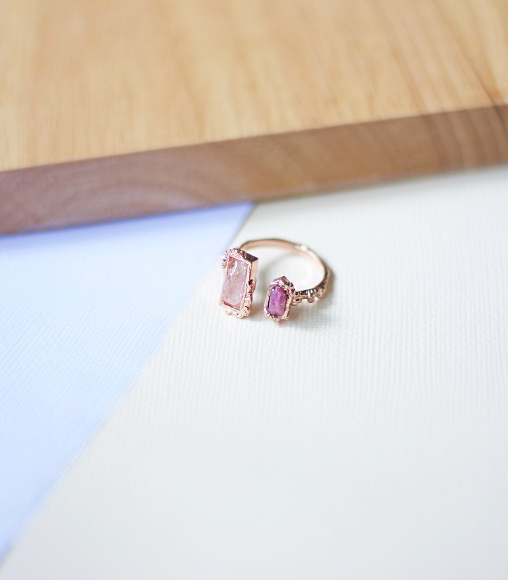 Crystal Frost Ring - Rose Quartz & Tourmaline