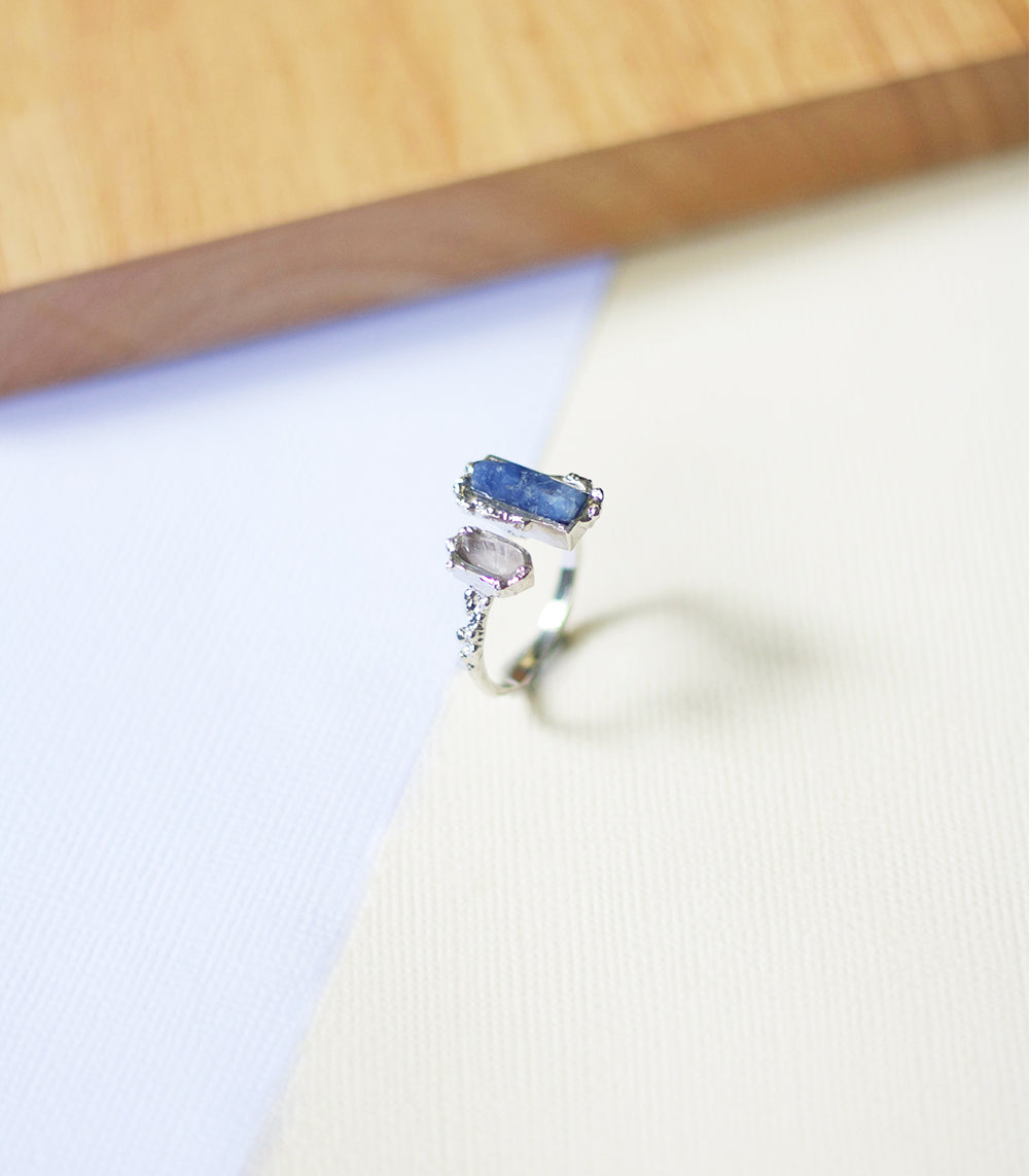 Crystal Frost Ring - Sapphire & Rose Quartz (BACKORDER)