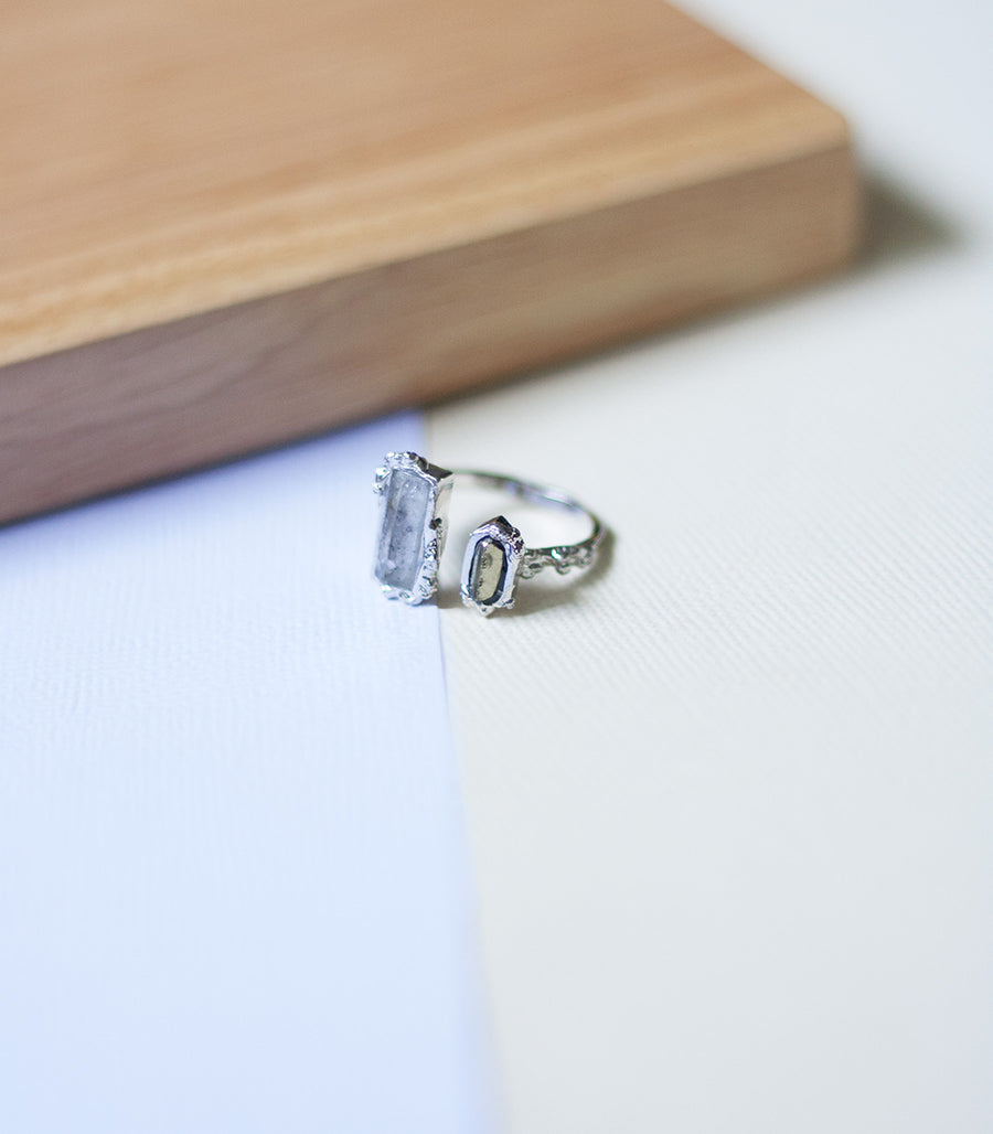 Crystal Frost Ring - Herkimer & Pyrite