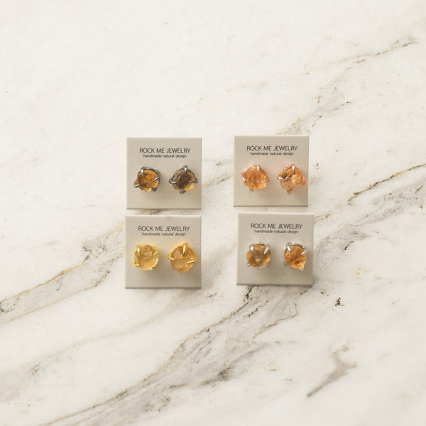 Small Rough Earrings - Citrine
