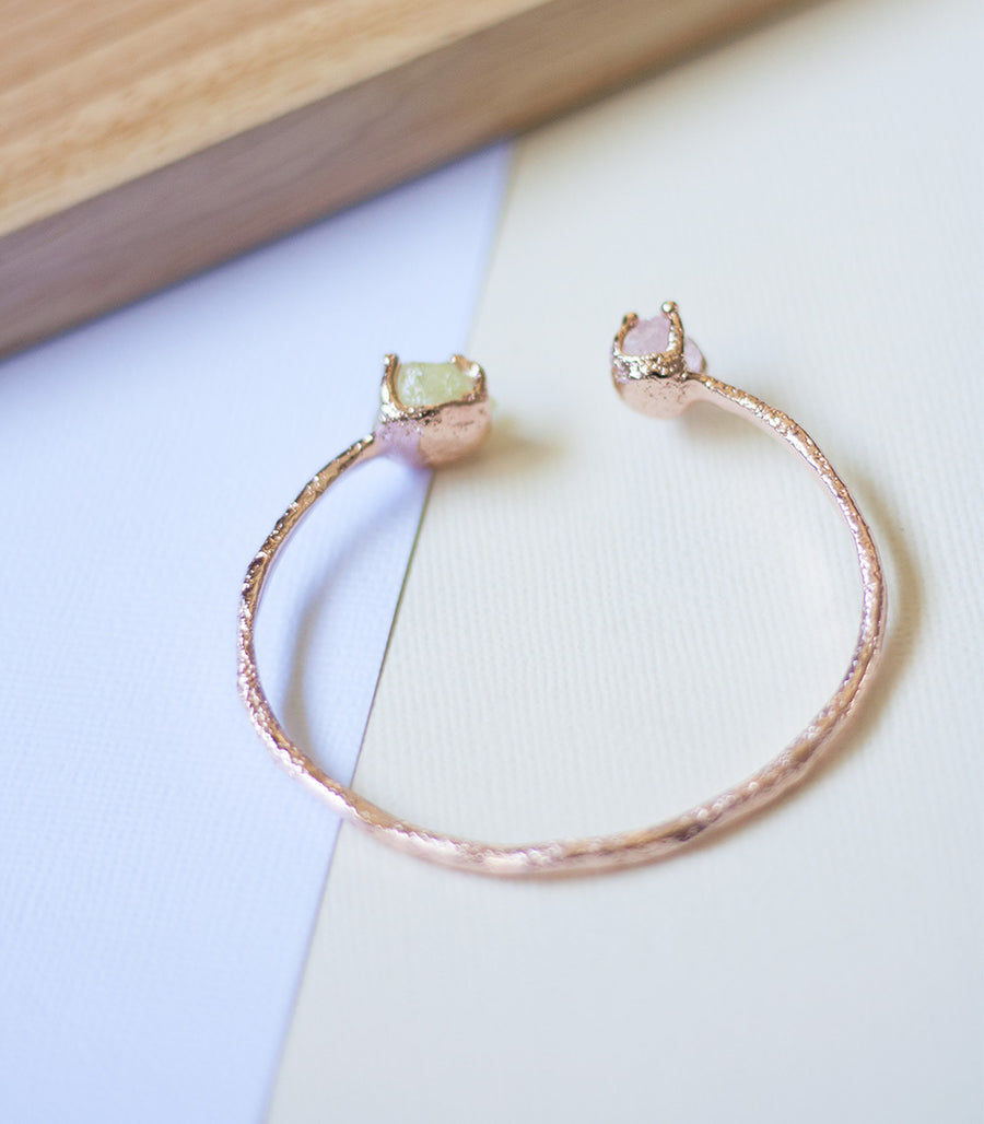 Double Desert Bangle - Lemon Quartz & Rose Quartz