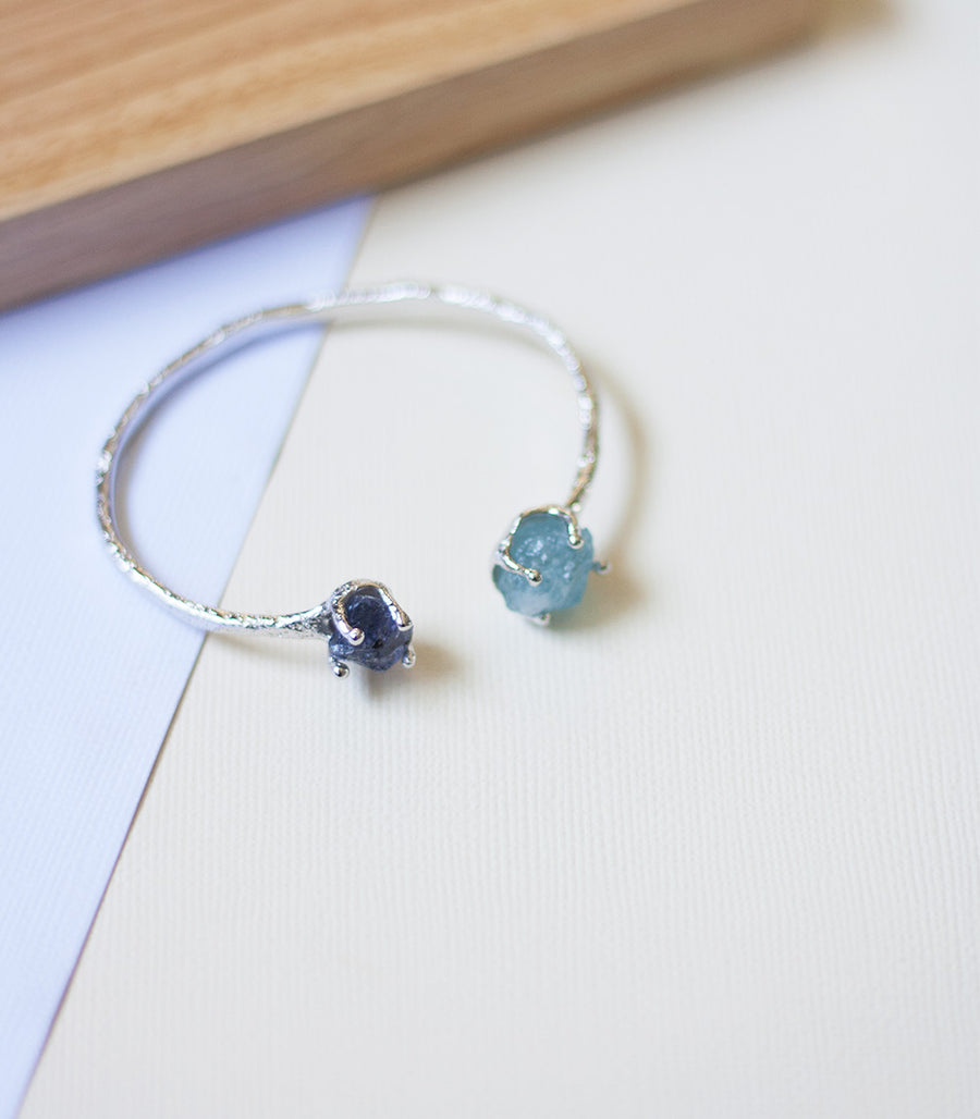 Double Desert Bangle - Iolite & Aquamarine