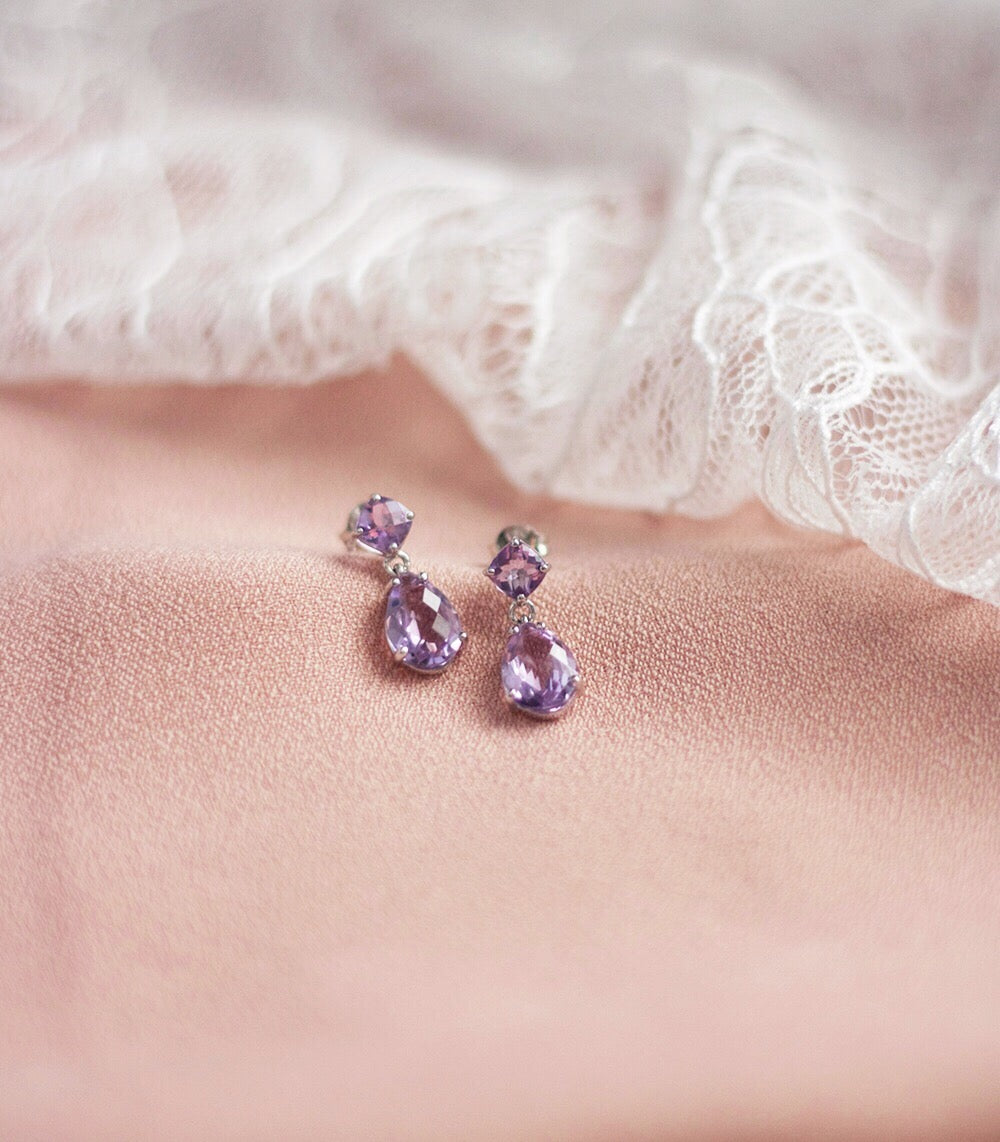 Elise Earrings - Pink Amethyst in 925 Silver (BACKORDER)
