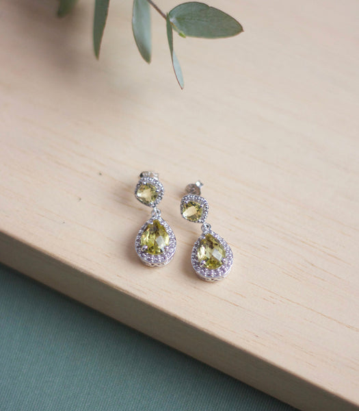 Emma Earrings - Lemon Quartz in 925 Silver