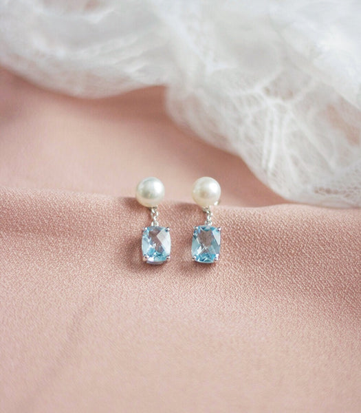 Grace Earrings - Blue Topaz in 925Silver