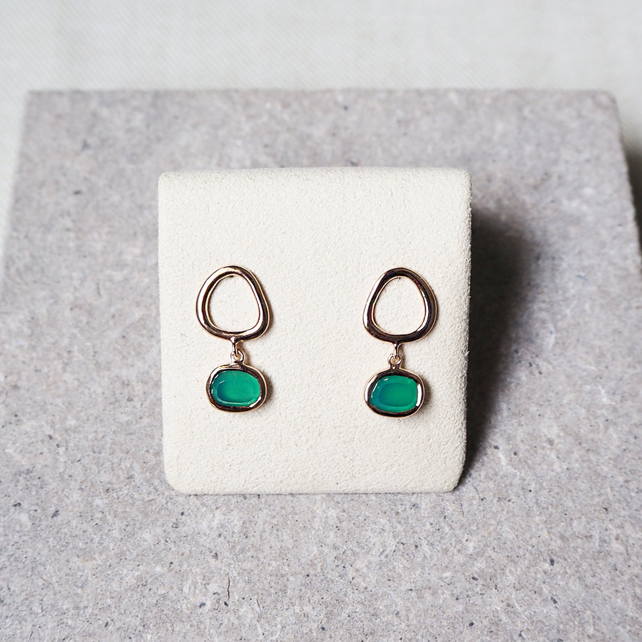 Hailey Earrings - Green Onyx