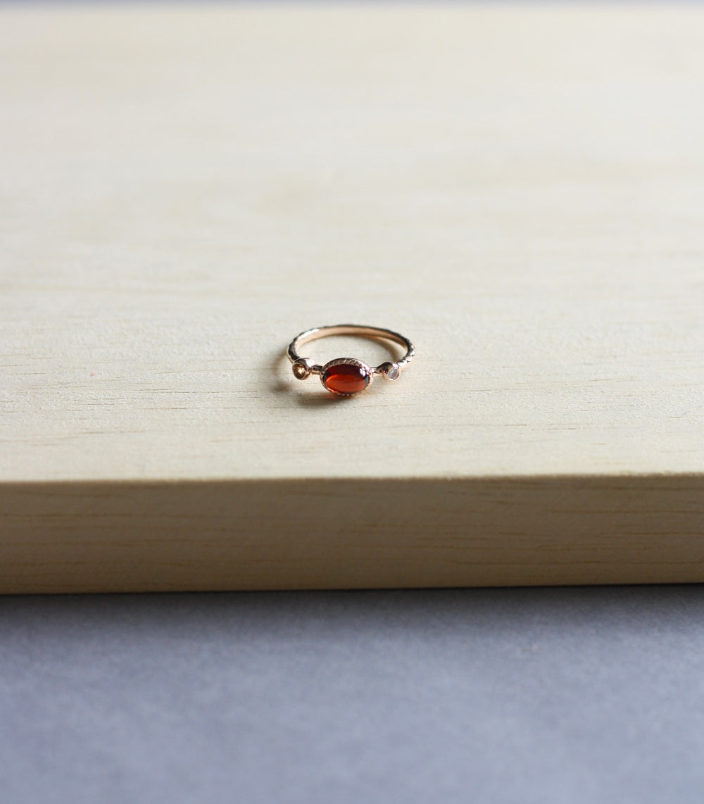 Claire Ring - Garnet in Rose Gold