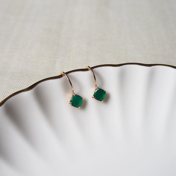 Della Earrings - Green Onyx
