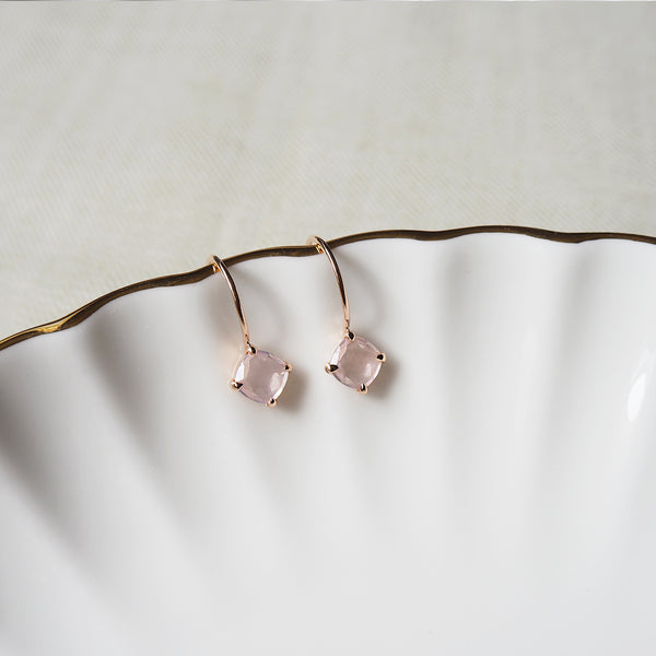 Della Earrings - Rose Quartz