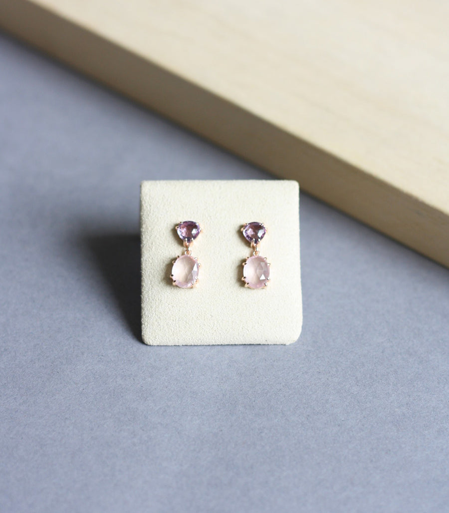 Kira Earrings - Amethyst in Rose Gold
