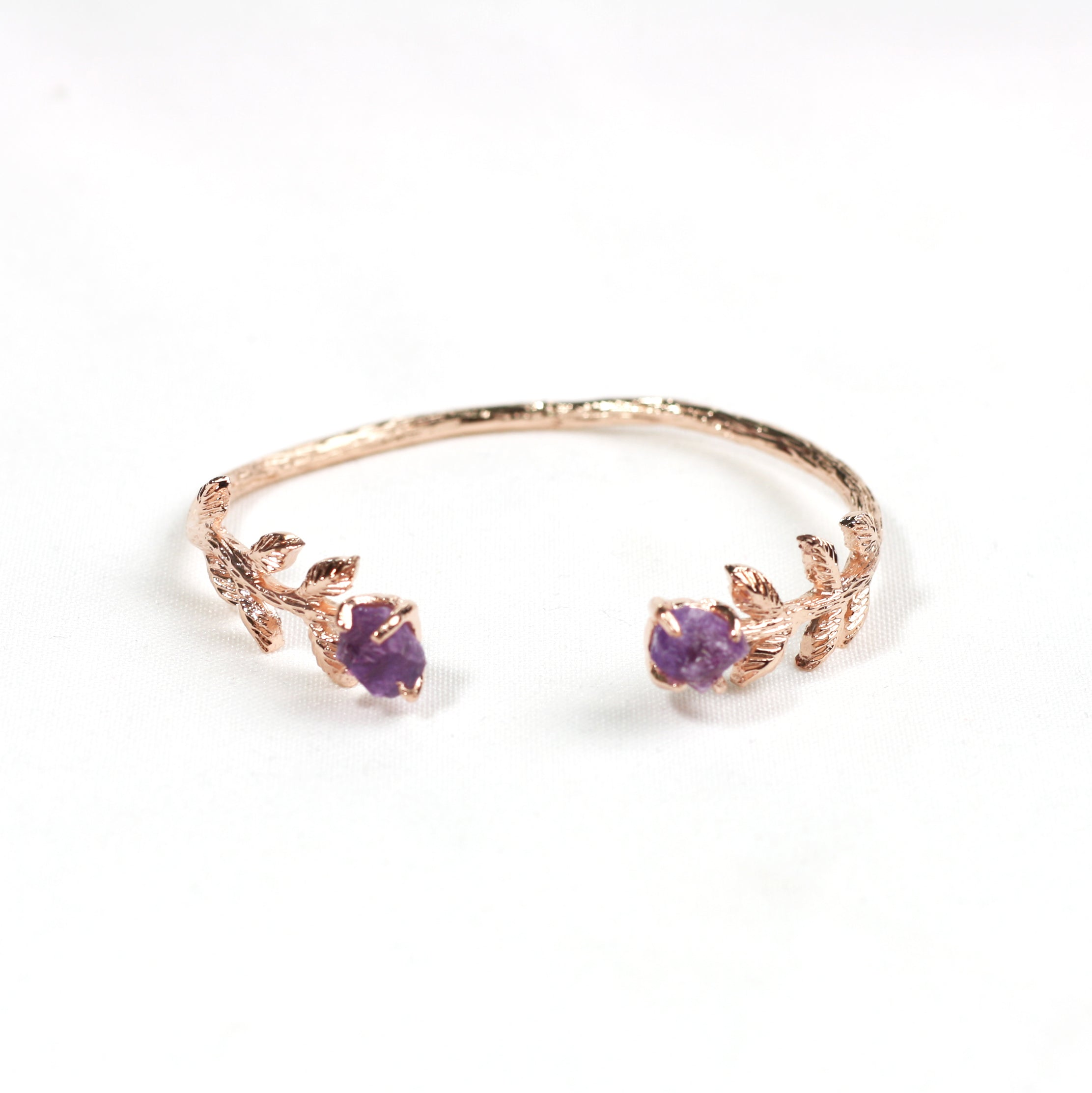 Leaf Bangle - Pink Amethyst (Rose Gold)