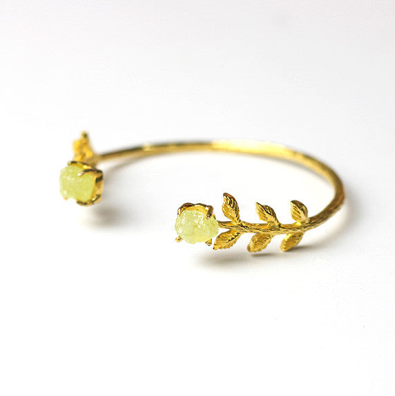 Leaf Bangle - Green Garnet (Gold)