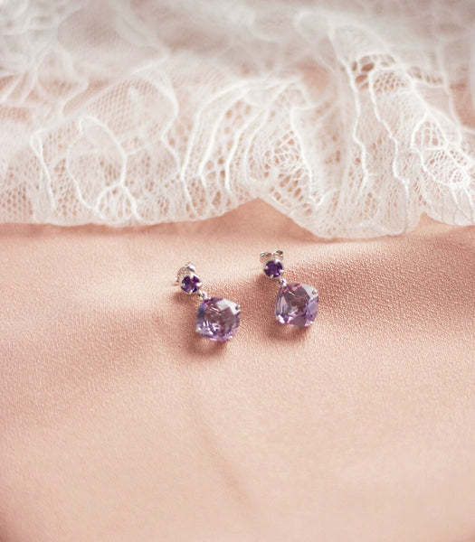 Luna Earrings - Pink Amethyst in 925Silver