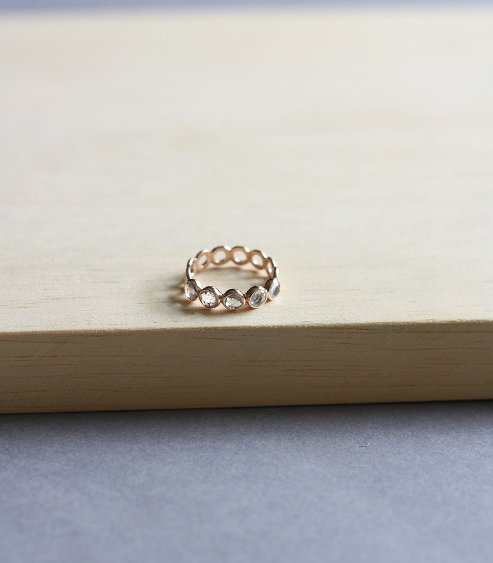 Millie Ring - Blue Topaz in Rose Gold